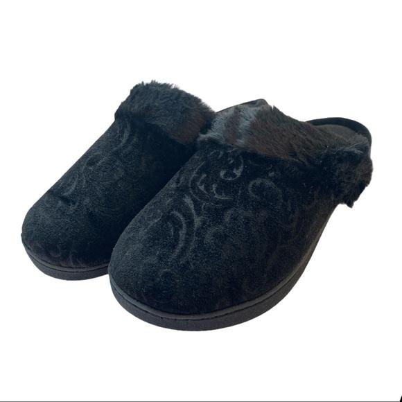Isotoner Velour Patterned Clog Black